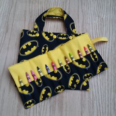 Tote Bag and Crayon Roll - Batman - Gift Idea - Easter - Toddler - book bag - gift - gifts under 20 - Valentine's Day - Birthday - coloring by Sewing4Babies on Etsy