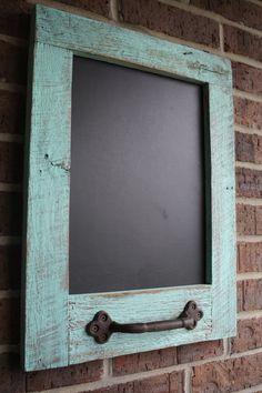 Rustic Aqua Reclaimed Barn Wood Chalkboard with by timelessjourney, $45.00