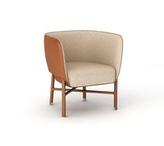 """""""Cabriolet"""" chair Hermes """"cabriolet"""" chair with solid Canaletto walnut wood base and brushed inox plated finishings. Covered with gold taurillon essential leather. Padded seat and back covered with taurillon essential leather and rye """"Cravache"""" fabric. L27"""" x H28.5"""" x W25.4"""" <br />Small and comfortable occasional armchair skillfully enhanced with piping.<br />"""