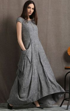 Gray Linen Dress Long Maxi Boho Style Short Sleeved Shift Styles Courts, Budget Fashion, Linen Dresses, Dresses With Sleeves, Dress Me Up, Extra Fabric, Gathered Skirt, Fitted Bodice, Feminin