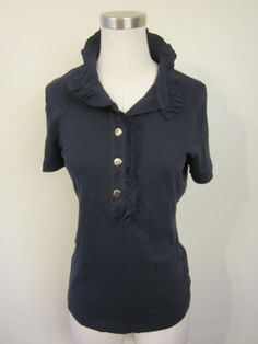 Tory Burch Navy Polo Shirt with Ruffled Collar & Gold-tone Buttons $99.99