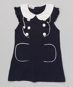 Look what I found on #zulily! Navy & White Peter Pan Collar Dress - Toddler & Girls #zulilyfinds