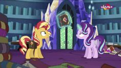 Size: 600x338 | Tagged: animated, cute, equestria girls, in the human world for too long, journal, levitation, library, magic, magic mirror, mirror magic, pony, safe, screencap, shimmerbetes, spoiler:eqg specials, starlight glimmer, sunset shimmer, telekinesis, twilight's castle, unicorn