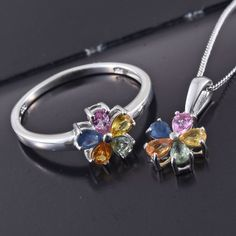 Multi Sapphire Platinum Over Sterling Silver Flower Ring (Size and Pendant With Chain in) TGW cts. Sterling Silver Flowers, Sterling Silver Rings, Sapphire Jewelry, Look Chic, Chain, Pendant, Bracelets, Sterling Silver Thumb Rings, Necklaces
