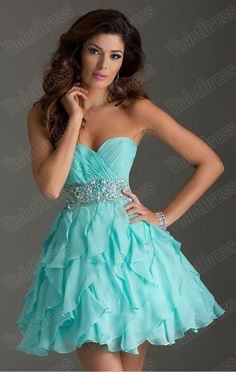 A Line Strapless Beaded Short/Mini With Tiered Chiffon Prom Dresses