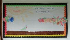 The Very Hungry Caterpillar. Móvil: con una cuerda de lado a lado de la pizarra los alimentos pueden ser deslizados por la cuerda conforme se va leyendo el cuento. Los niños colorearon los alimentos que fueron dibujados por mi. PKC 2012