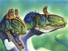 Cryolophosaurus ellioti,  Early Jurassic (194–188 Ma); Theropoda; Discovered by Hammer & Hickerson, 1994; Artwork by Pastori