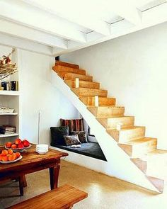 under-the-stairs reading space
