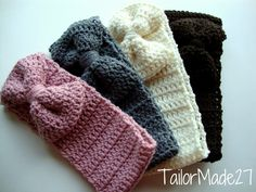 Crochet Headband Ear Warmer Bow