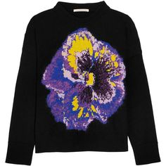 Christopher Kane Intarsia wool-blend sweater ($730) ❤ liked on Polyvore featuring tops, sweaters, print top, christopher kane, wool-blend sweater, multi color tops and multi colored sweater