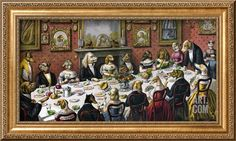 Dinner Party for Dogs Stretched Canvas Print