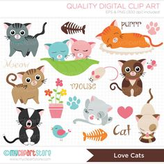 Love Cats Clip Art / Digital Clipart  Instant by MyClipArtStore