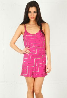 Love it! Parker Spaghetti Strap Sequin Dress in Magenta $352