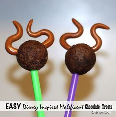 Maleficent Inspired Cake Pops Created With Something SUPER EASY! Make these horns for anything...cupcakes, ice cream, whatever you want!