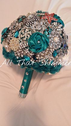 Wedding Brooch Bouquet - Teal with Orange Accent - Vintage Custom Feel ~ Handmade~ Ready to Ship~Item 1172