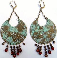 Verdigris Patina Crescent Earrings w/ Picasso Glass Drops by CrashsCuriosities on Etsy