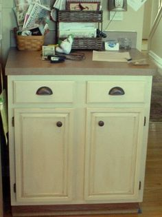 cream and brown cabinet how to