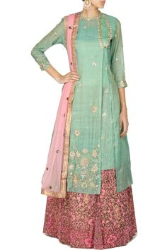 Lehengas , Clothing, Carma, Teal blue and pink embroidered angrakha jacket and lehenga set Indian Wedding Outfits, Pakistani Outfits, Indian Outfits, Wedding Attire, Indian Jackets, Western Wear For Women, Floral Print Skirt, Western Dresses, Embroidery Dress