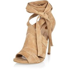 River Island Beige suede tie up shoe boots (9.580 RUB) ❤ liked on Polyvore featuring shoes, boots, ankle booties, high heel boots, suede ankle booties, beige booties, peep toe ankle booties and stiletto booties