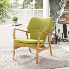 Heed Lounge Chair, Birch Green - Lean back and pay careful attention to the things that matter most. Heed is a mid-century modern style lounge chair that imparts a wonderful story about progress and the timelessness of iconic design. Made of solid ash wood with a sponge padded seat and back, Heed combines artful sophistication with fine upholstery and plush seat padding for a seating experience that truly prompts us all to take notice. Set Includes: One - Heed Lounge Chair. Material: fabric…