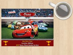 Digital Download Disney Pixar Cars Birthday Invitation Kids Children Boy Girl Unisex Lightening McQueen Customisable Racing Car Race Red by DesignsByMoniqueAU on Etsy