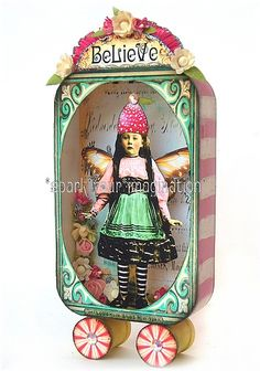 ~ Sweeter Than Sweet Altered Tin ~ Love the colors and well, just the whole thing. Altered Tins, Altered Bottles, Altered Art, Altered Books, Altoids Tins, Tin Boxes, Cigar Boxes, Assemblage Art, Mixed Media Art