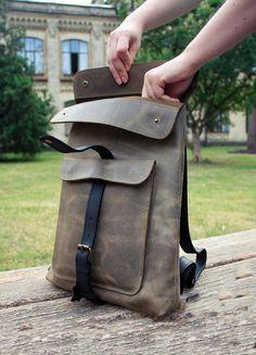 Handmade Leather backpack Leather bag laptop school