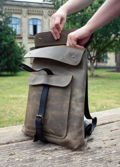 3d1d8a7d8539 Handmade Leather backpack Leather bag laptop school Vászon
