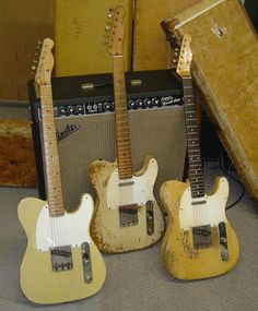 Three workhorses. You always looks good with a Telecaster on stage...