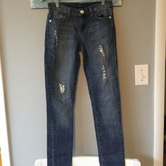 "Rock & Republic ""Berlin"" Jeans Excellent condition. Distressed with ""tares"". They have sparkles underneath them.  30"" inseam Rock & Republic Jeans Straight Leg"
