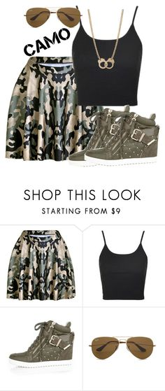 """Camo"" by deedee-pekarik ❤ liked on Polyvore featuring Chicnova Fashion, Topshop, River Island, Ray-Ban, Sugar NY, camouflage, camostyle, camouflageprint and camouflageskirt"