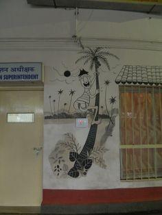 mario miranda's work at madgaon railway station