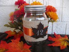 SET OF 18 Fall Maple Leaf Burlap Mason Jar by dazzlingexpressions, $145.80