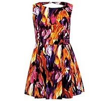 Koko Cut Out Back Print Dress - Large Size Clothing - www.plussizedglamour.co.uk