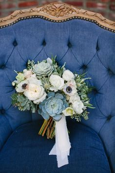 bouquets with succulents and anemones - photo by Mary Costa Photography http://ruffledblog.com/modern-navy-and-gold-wedding-in-downtown-la