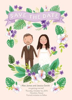 Custom Illustrated Tropical Save the Date Card por kathrynselbert