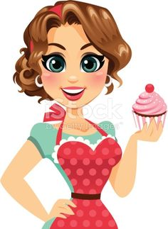 A cute cupcake girl holding a cupcake and wearing an apron.