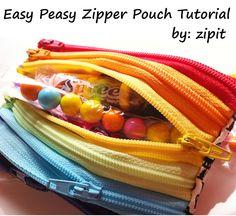 Zip It Zippers: Pouch Tutorial!    Easy Peasy Zipper Pouch Tutorial    (diy, sewing, wallet)