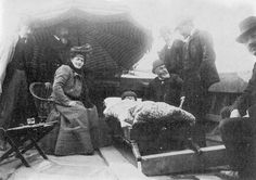 In February 1903, Puccini was involved in a car accident. He suffered serious injuries and remained under treatment for months, slowing the completion of his next opera, Madama Butterfly. Here Puccini is brought home by ferry after the accident.