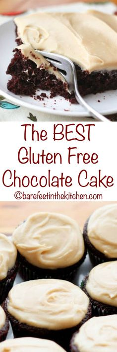 """The BEST Gluten Free Chocolate Cake doesn't taste """"gluten free"""" at ALL! - get the recipe at http://barefeetinthekitchen.com"""