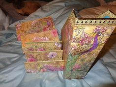 Beautiful Peacock Theme Office Supplies Boxes By FindandReStore