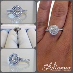 Our round double halo split shank ring R2970 really makes the round center stone visible.