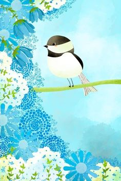 Whimsical Bird Art Print - Chickadee 2 Small Print - Nursery art prints, baby nursery, nursery decor, nursery wall art, kids art