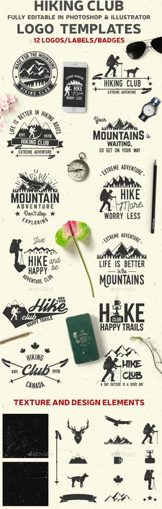 Hiking Club — Photoshop PSD #badge #extreme • Download ➝ https://graphicriver.net/item/hiking-club/19747613?ref=pxcr