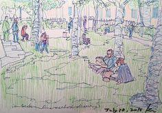 #USkManchester2016: Day 4-Sketchwalk | Urban Sketchers - unbroken line sketching workshop