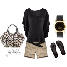 I really like the shorts and the top - And they seem pretty affordable! Created by shauna-rogers on Polyvore.