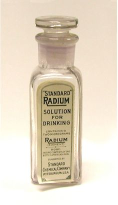"""In the 1920s, the radioactive metal radium was considered a miracle cure. """"Radiotherapy"""" was used to treat not only cancer and lupus, but acne, baldness and impotence; you could even buy """"Radium"""" brand butter, cigarettes and beer."""