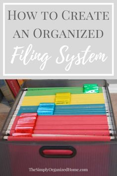 Create an Organized Filing System - The Simply Organized Home : Are you struggling to get the paper clutter under control in your home? Creating an organized filing system is the best way to tame the paper clutter once and for all! Organisation Hacks, Filing Cabinet Organization, Organizing Paperwork, Clutter Organization, Home Office Organization, Office Storage, Organizing Paper Clutter, Storage Cabinets, File Folder Organization