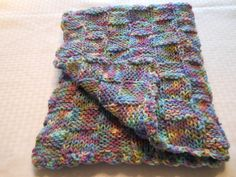 hand knit multi color baby blanket blue blanket by KnittingWize