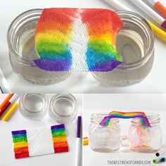 Grow a Rainbow ? - such a fun science experiment! An easy and fun indoor activity for kids too! This Grow a Rainbow Experiment is really easy and fun to do! You only need paper towel, water and washable markers. See how to Toddler Crafts, Diy Crafts For Kids, Projects For Kids, Preschool Activities, Rainbow Activities, Easy Crafts, Kindergarten Science Experiments, Colour Activities, School Age Activities